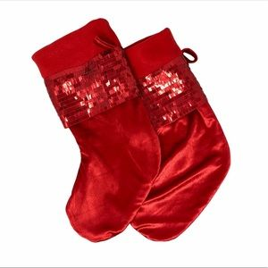 🌺 Satiny and Glam Red Holiday Christmas Stockings